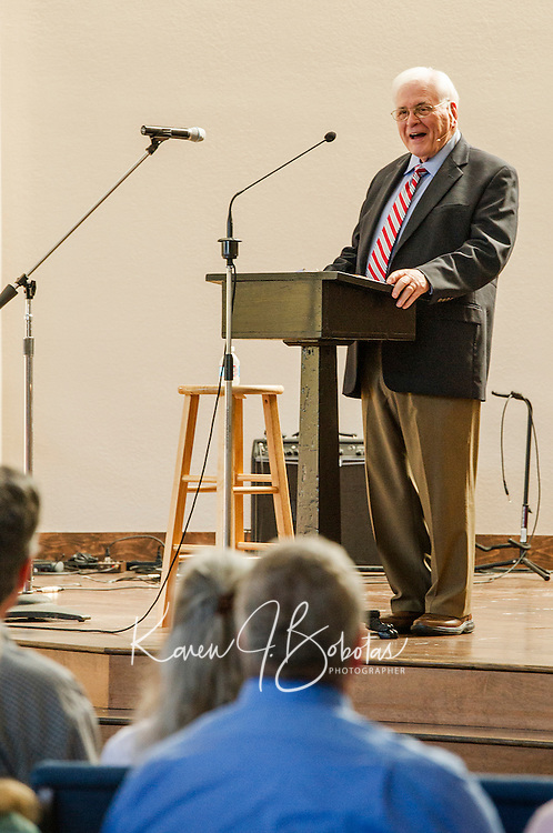 Pastor Frank Accardy speaks at the dedication for the Evangelical Baptist Church in Lakeport on Sunday afternoon.  (Karen Bobotas/for the Laconia Daily Sun)