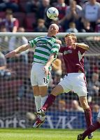 Hearts v Celtic, Scottish Premier League, Tynecastle Park, Edinburgh. Pic Shaun Dempsey, 15/05/2005<br /> Andy Webster and John hartson battle for possession