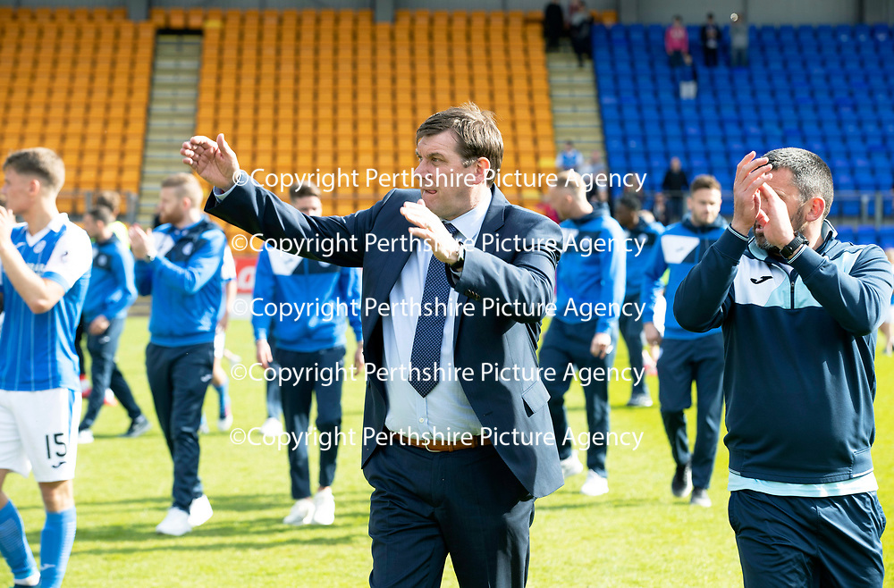 St Johnstone v Ross County…12.05.18…  McDiarmid Park    SPFL<br />Manager Tommy Wright and Callum Davidson lead a walk around the pitch at full time to applaud the fans<br />Picture by Graeme Hart. <br />Copyright Perthshire Picture Agency<br />Tel: 01738 623350  Mobile: 07990 594431