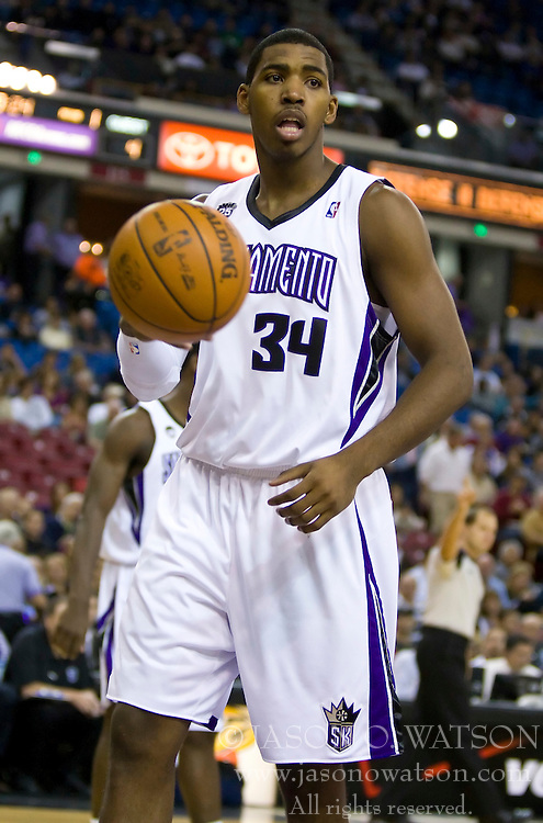 November 29, 2009; Sacramento, CA, USA;  Sacramento Kings forward Jason Thompson (34) during the first quarter against the New Orleans Hornets at the ARCO Arena. Sacramento defeated New Orleans 112-96.