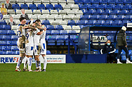GOAL 3-1!! Tranmere Rovers midfielder Liam Feeney and team mates celebrate during the EFL Sky Bet League 2 match between Tranmere Rovers and Forest Green Rovers at Prenton Park, Birkenhead, England on 19 January 2021.