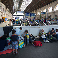 Illegal migrants sit on the ground at the main railway station Keleti in the hopes to leave for Germany in Budapest, Hungary on September 03, 2015. ATTILA VOLGYI