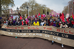 Feminists join thousands of people marching along the Mall during a Kill The Bill demonstration as part of a National Day of Action to mark International Workers Day on 1st May 2021 in London, United Kingdom. Nationwide protests have been organised against the Police, Crime, Sentencing and Courts Bill 2021, which would grant the police a range of new discretionary powers to shut down protests.