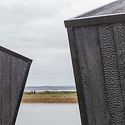 The Observatory, Detail of wood charred cladding (Shou Sugi Ban), Lymington Salt marshes.