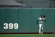 San Francisco Giants center fielder Gorkys Hernandez (66) catches a fly ball against the Arizona Diamondbacks at AT&T Park in San Francisco, California, on August 6, 2017. (Stan Olszewski/Special to S.F. Examiner)