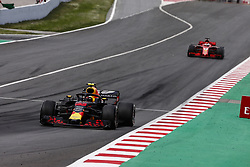May 13, 2018 - Barcelona, Catalonia, Spain - 33 Max Verstappen Max from Netherlands Aston Martin Red Bull Tag Heuer RB14 in front of 05 Sebastian Vettel from Germany with Scuderia Ferrari SF71H during the Spanish Formula One Grand Prix at Circuit de Catalunya on May 13, 2018 in Montmelo, Spain. (Credit Image: © Xavier Bonilla/NurPhoto via ZUMA Press)