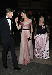 Dr Tristram Hunt, Director of the V&A Museum, the Duchess of Cambridge and Colonel Jane Davis, Her Majesty's Vice Lord Lieutenant of Greater London, attend the 100 Women in Finance Gala Dinner in aid of Mentally Healthy Schools at the V&A Museum in London.