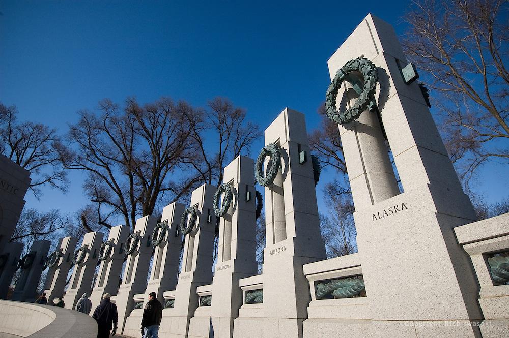 Low angle view of Atlantic Pavilion pillars at the World War II Memorial, Washington, DC