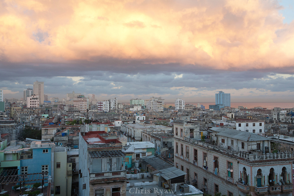 Clouds and cityscape at dawn, Havana, Cuba