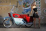 1958 Ariel Leader motorcycle made in Britian.  Sharis Fajardo modeling.