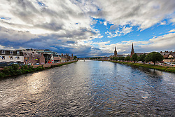 Scenic view of Inverness City and the River Ness, Scotland, UK