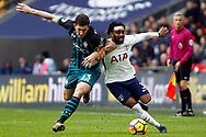 Pierre-Emile Hojbjerg of Southampton (L) tussles with Danny Rose of Tottenham Hotspur (R).Premier league match, Tottenham Hotspur v Southampton at Wembley Stadium in London on Boxing Day Tuesday 26th December 2017.<br /> pic by Steffan Bowen, Andrew Orchard sports photography.