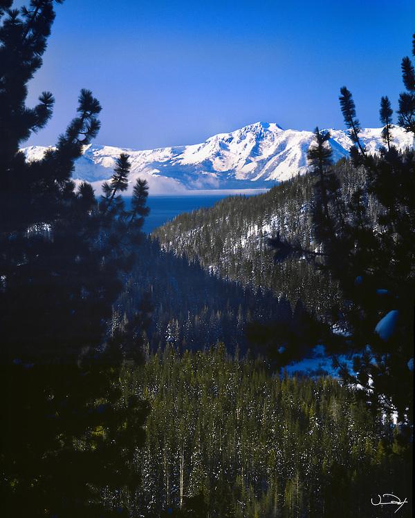 Lake Tahoe Landscape Winter Mountain Valley Lake Tahoe