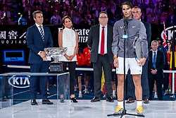 January 27, 2019 - Melbourne, VIC, U.S. - MELBOURNE, AUSTRALIA - JANUARY 27 : Rafael Nadal of ÊSpain holds his trophy after at the completion of the final on day 14 of the Australian Open on January 27 2019, at Melbourne Park in Melbourne, Australia.(Photo by Jason Heidrich/Icon Sportswire) (Credit Image: © Jason Heidrich/Icon SMI via ZUMA Press)