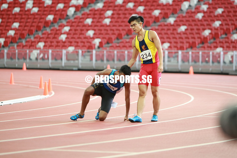 National Stadium, Friday, April 29, 2016 — S Shahmee Ruzain of Catholic Junior College (CJC) clocked 11.22 seconds to win the A Division Boys' 100 metres gold at the 57th National Schools Track and Field Championships.<br /> <br /> He bettered his previous personal best of 11.29s, which was clocked in the semi-finals.