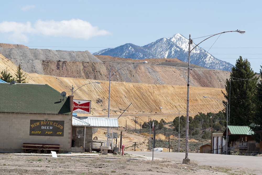 The town of New Ruth and tailings from the Robinson Mine near Ely, Nevada.