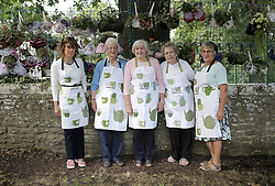 © Under licence to London News Pictures. 21/08/2016. Bras turned into hanging basket by the ladies of Shotley WI, on display at Shotley Church Hall at Snods Edge in Northumberland, UK. Members of Shotley Womens Institute have re-cycled bras to make hanging baskets for the national WI hanging basket competition, which will be judged this coming bank holiday weekend. The bras are made up of some of their own and some donated by local women. Pictured are Shotley WI members, from left, Linda Garner, Kathleen Bolton, Norina Henderson, Joan Jackson and Cathy Railton. Photo Credit: Stuart Boulton/LNP