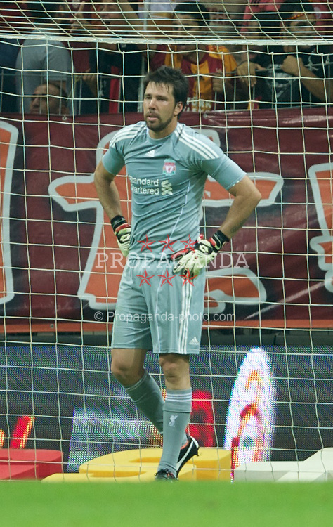 ISTANBUL, TURKEY - Thursday, July 28, 2011: Liverpool's goalkeeper Alexander Doni looks dejected as Galatasaray score the second goal during a preseason friendly match at the Turk Telekom Arena. (Photo by David Rawcliffe/Propaganda)