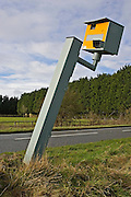 Vandalised Gatso speed camera on A40, Oxfordshire, England, United Kingdom