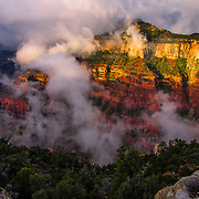 USA, Southwest, West, AZ, Arizona, Grand Canyon, Grand Canyon National Park, North Rim, Clouds roll through the incredible rock formations of Bright Angel Point at the rugged North Rim of the Grand Canyon, Grand Canyon National Park, AZ.