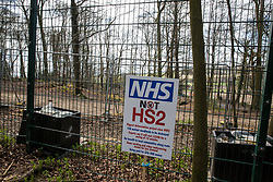Wendover, UK. 9th April, 2021. A NHS Not HS2 placard is pictured during tree felling operations for the HS2 high-speed rail link in Jones Hill Wood, ancient woodland said to have inspired Roald Dahl. Tree felling work began this week, in spite of the presence of resting places and/or breeding sites for pipistrelle, barbastelle, noctule, brown long-eared and natterer's bats, following the issuing of a bat licence to HS2's contractors by Natural England on 30th March.