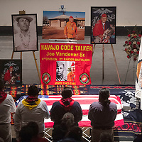 Pallbearers stand at the funeral service of Navajo Code Talker Joe Vandever Sr. at El Morro Theatre Wednesday in Gallup. Vandever was laid to rest at the Santa Fe National Cemetery in Santa Fe, New Mexico Thursday.