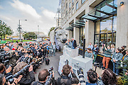 Emma Thompson (pictured), and Greenpeace UK Executive Director John Sauven, deliver a celebration speech to crowds outside Shell's offices – in response to yesterday's announcement by , the Anglo-Dutch oil major, Shell that it was pulling out of Arctic oil drilling. After speaking, Emma helped volunteer puppeteers move Aurora the double decker bus sized polar bear from in front of Shell's front door.  The bear has been standing there  for the past month, in protest at Shell's proposed Arctic oil drilling. Now Shell has announced its Arctic exit, the bear will be transported to Paris where the nations of the world will soon gather to negotiate a deal on climate change.