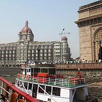 Asia, India, Mumbai. Taj Mahal Palace Hotel, view from water.