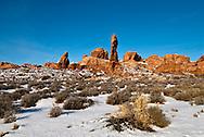 Rock Pinnacles, Arches National Park, Utah, winter.