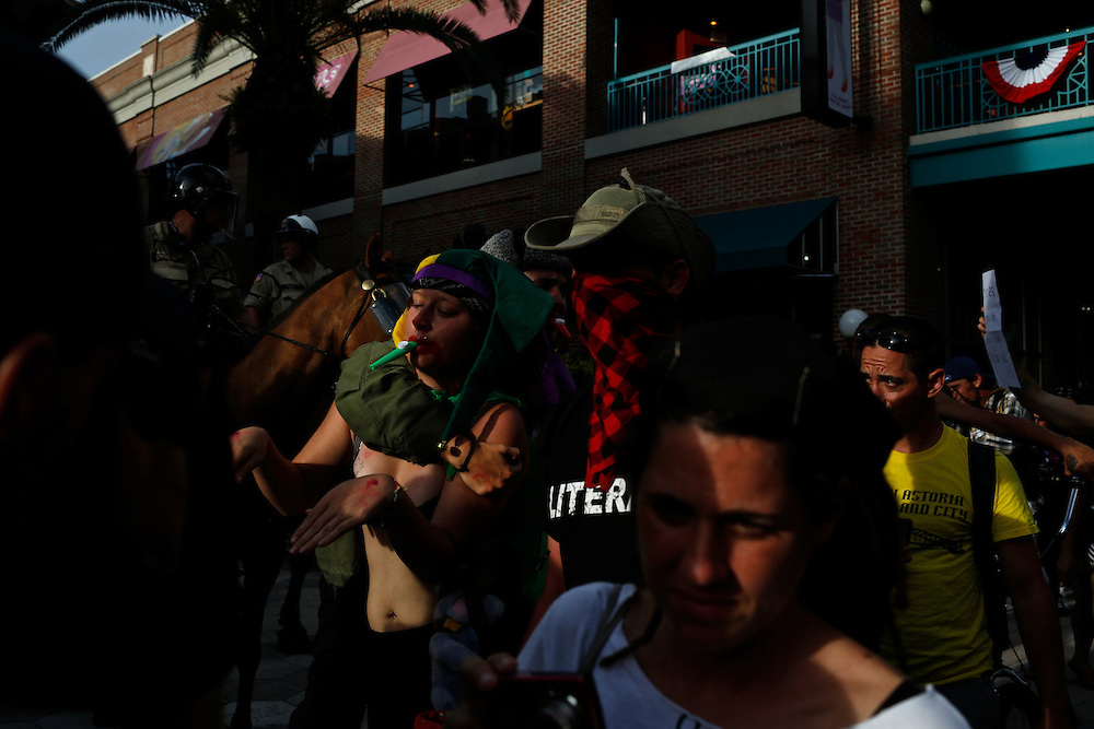 Protesters march through the streets of Ybor City for a voter's suppression march during the 2012 Republican National Convention on August 28, 2012.
