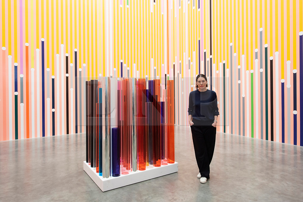 © Licensed to London News Pictures. 16/04/2019. London, UK. Artist Sarah Morris with her work titled Ataraxia (2019) and 'What can be explained can also be predicted' (2019) showing as part of her exhibition  'Machines do not make us into Machines' exhibition at the White Cube gallery. Photo credit: Ray Tang/LNP