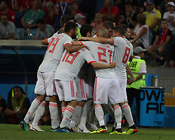 June 15, 2018 - Sochi, Russia - June 15, 2018, Russia, Sochi, FIFA World Cup, First round, Group B, Portugal vs Spain at Fisch Stadium. Player of the national team Joy; happiness; victory; Goal; (Credit Image: © Russian Look via ZUMA Wire)