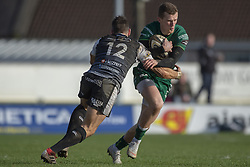 March 2, 2019 - Galway, Ireland - Stephen Fitzgerald of Connacht tackled by James Hook of Ospreys during the Guinness PRO 14 match  between Connacht Rugby and Ospreys at the Sportsground in Galway, Ireland on March 2, 2019  (Credit Image: © Andrew Surma/NurPhoto via ZUMA Press)
