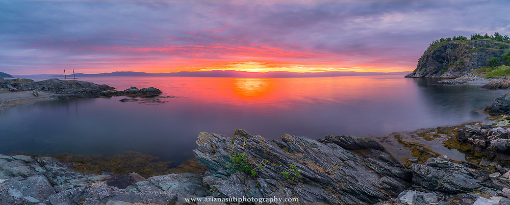 """This is a midnight sunset around 12 p.m. t was such a beautiful sunset that you can just dream about it.                        Korsvika is a small residential area of in the Lade neighborhood of Trondheim, Norway. Korsvika has several small beaches, and the Ladestien trail runs through the area. In Korsvika there is also a kindergarten named """"Korsvika barnehageI Please feel free to check my photos here or find me by:  Websit   , Facebook page  ,  Instagram  , Google+  , Twitter  ."""