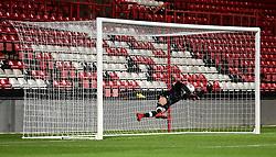 Liverpool's Caoimhin Kelleher fails to stop Bristol City's Opi Edwards free kick - Mandatory by-line: Alex James/JMP - 13/02/2018 - FOOTBALL - Ashton Gate Stadium - Bristol, England - Bristol City U23 v Liverpool U23 - Premier League Cup