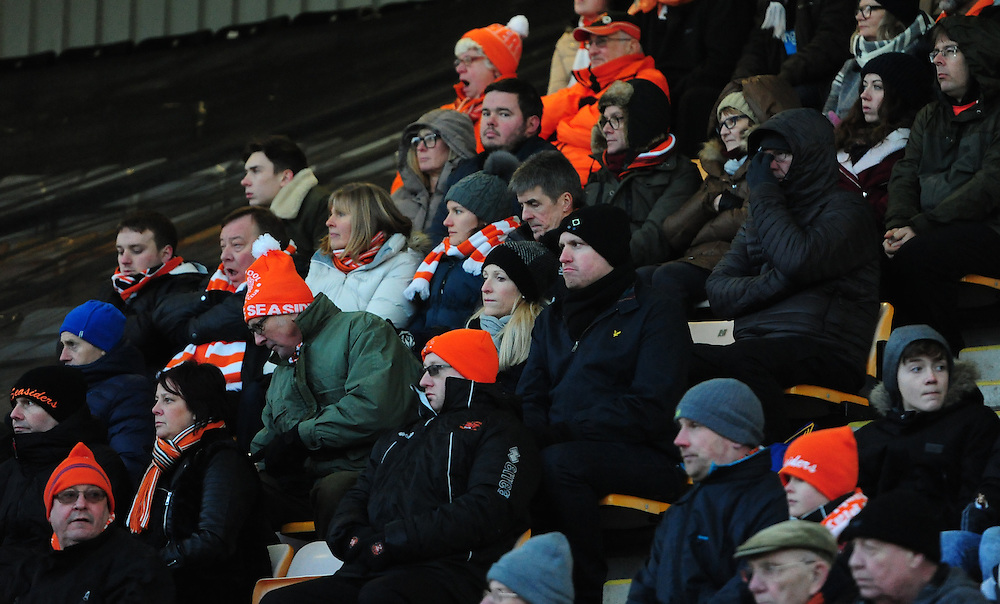 Blackpool fans during the second half<br /> <br /> Photographer Chris Vaughan/CameraSport<br /> <br /> The EFL Sky Bet League Two - Cambridge United v Blackpool - Saturday 14th January 2017 - The Cambs Glass Stadium - Cambridge<br /> <br /> World Copyright © 2017 CameraSport. All rights reserved. 43 Linden Ave. Countesthorpe. Leicester. England. LE8 5PG - Tel: +44 (0) 116 277 4147 - admin@camerasport.com - www.camerasport.com