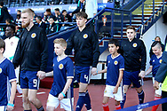 Scotland forward Oliver McBurnie (9) (Swansea City), Scotland defender Jack Hendry (4) (Celtic) and Scotland midfielder James Forrest (7) (Celtic) during the Friendly international match between Scotland and Portugal at Hampden Park, Glasgow, United Kingdom on 14 October 2018.