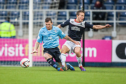 Dundee's Iain Davidson and Falkirk's Will Vaulks.<br /> Falkirk 2 v 0 Dundee, Scottish Championship game at The Falkirk Stadium.<br /> © Michael Schofield.