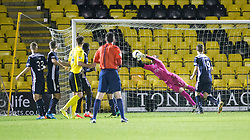 Falkirk's keeper Jamie MacDonald saves from a free kick. <br /> Livingston 0 v 1 Falkirk, Scottish Championship played13/12/2014 at The Energy Assets Arena.