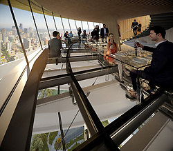 "October 3, 2017 - Seattle, Etats-Unis - Diners at one of America's most iconic buildings will need an appetite for heights.A glass floor is to be installed in the restaurant on top of the 500 foot / 152 metre high Space Needle tower in Seattle, Washington State.Locally based architecture company Olson Kundig was chosen to oversee the preservation and design modifications on the tower which opened in 1962.The project was proposed to both modernize and preserve the existing design. The $100 million USD construction includes improvement to the restaurant, as well as a viewing platform with glass benches that extend to the edge of the deck's glass wall. It will give the impression there is nothing between visitors and the building edge.The Space Needle has defined Seattle's skyline since it opened but like many structures in middle age, the 55-year-old tower and observation deck is in need of some cosmetic surgery.The renovation also involves replacing aging mechanical, electrical, and plumbing systems; redesigning the interior and exterior observation decks and revolving restaurant and improving circulation throughout the structure.Olson Kundig partner Alan Maskin who helped design the renovations said: ""From a distance, it will appear as if the Space Needle is unchanged, but in fact, it will have changed significant.The Space Needle was originally inspired by a telecommunications tower in Stuttgart, Germany. The building's purpose was to offer visitors a bird's eye view of a growing metropolis and express the most advanced architectural engineering.Over the decades, walls and security cages were added to the structure, impeding views. Mskin said replacing opaque elements with glass will provide a new sense of transparency and ""help break down the lines that demarcate inside and outside."" The glass screens replace steel safety walls and the steel nets, which were added in the 1980s. Maskin added:"" When visitors"