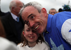 Ruby Walsh celebrates winning the Coral Punchestown Gold Cup on Kemboy where he then announced his retirement during day two of the Punchestown Festival at Punchestown Racecourse, County Kildare, Ireland.