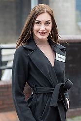 © Licensed to London News Pictures. 21/11/2019. London, UK. Miss Sweden (Daniella LUNDQVIST) pictured at Tower Bridge. National representatives from around the world arrive in London for the 69th Miss World festival and final Photo credit: Peter Manning/LNP