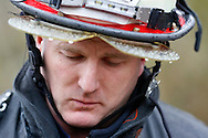 Bellevue firefighter Lt. Richard Burke reacts to a reporters question as workers are still searching for victims at the mudslide in Oso, Washington March 30, 2014. Local churches offered prayers on Sunday for the victims of last week's devastating mudslide in Washington state and words of solace for grieving families and friends, many of whom are still waiting for news of missing loved ones.  REUTERS/Rick Wilking (UNITED STATES)