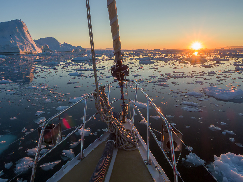 Twenty-four hours of daylight and the lowest the sun got during our trip to Disko Bay.