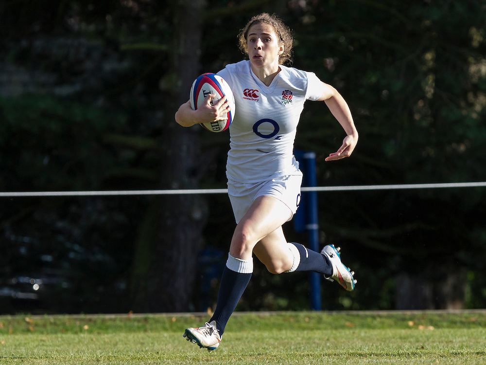 Abby Dow in action, U20 England Women v U20 Canada Women at Trent College, Derby Road, Long Eaton, England, on 26th August 2016