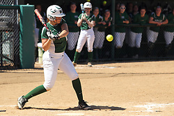 11 April 2015:  Sarah Platt during an NCAA Division III women's softball game between the Washington University Bears and the Illinois Wesleyan Titans in Bloomington IL