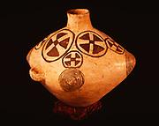 Ancestral Pueblo pottery, Pueblo II Mancos Black-on-White Olla, Edge of the Cedars State Park Museum, Blanding, Utah.  (ECPR-4106)