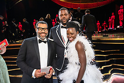 Jordan Peele, Winston Duke, and Lupita Nyong'o pose during the live ABC Telecast of The 91st Oscars® at the Dolby® Theatre in Hollywood, CA on Sunday, February 24, 2019.