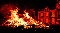 The Biggar Hogmanay bonfire lit at 9.30pm on Hogmanay by local resident John Michie.<br /> <br /> This is probably the biggest new year bonfire anywhere in the UK and continues a tradition going back hundreds of years.<br /> <br /> <br /> (c) Andrew Wilson   Edinburgh Elite media