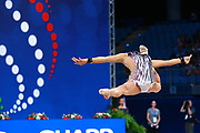Ashram Linoy during final at ball in Pesaro World Championships at Adriatic Arena on September 01, 2017. Linoy  is an Isrlaelian rhythmic gymnastics athlete born on May 13,1999 in Tel Aviv. Her targhet is to win Israel's first Olympic rhythmic gymnastics medal at the 2020 Olympic Games in Tokyo.